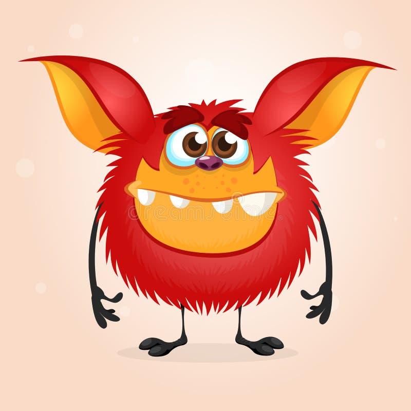 Malutki szczęśliwy czerwony kreskówka potwór Halloweenowa wektorowa ilustracja odizolowywająca royalty ilustracja