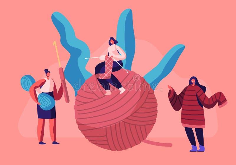 Malutkie dziewczyny Siedzi na Ogromnym gejtawie z Dziewiarskimi igłami Handcraft hobby pojęcia kobiety Knitwork, dzianiny Ciepła  ilustracji