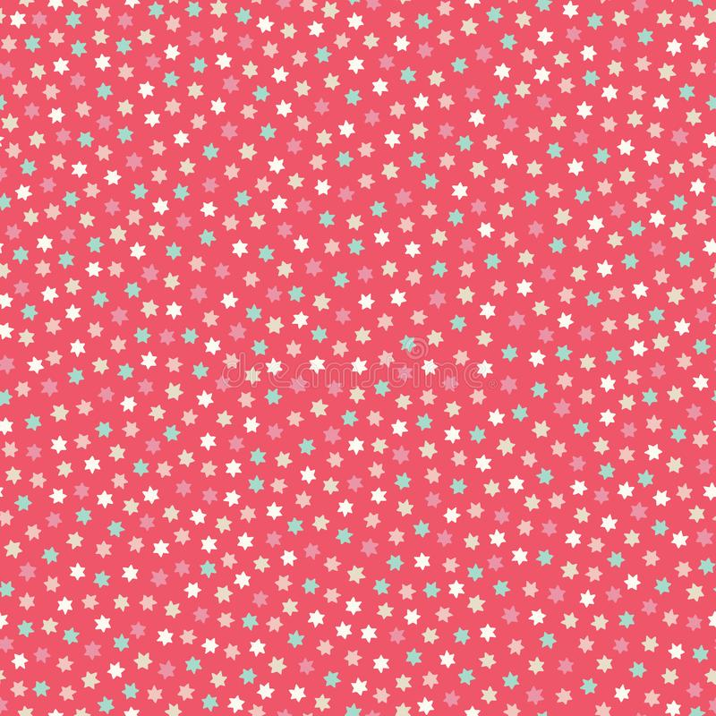 Malutkie menchie, czerwień i siwieją gwiazdy na białym tle w bezszwowym powtórka wzorze Cukierki podrzucający wektorowy projekta  ilustracji