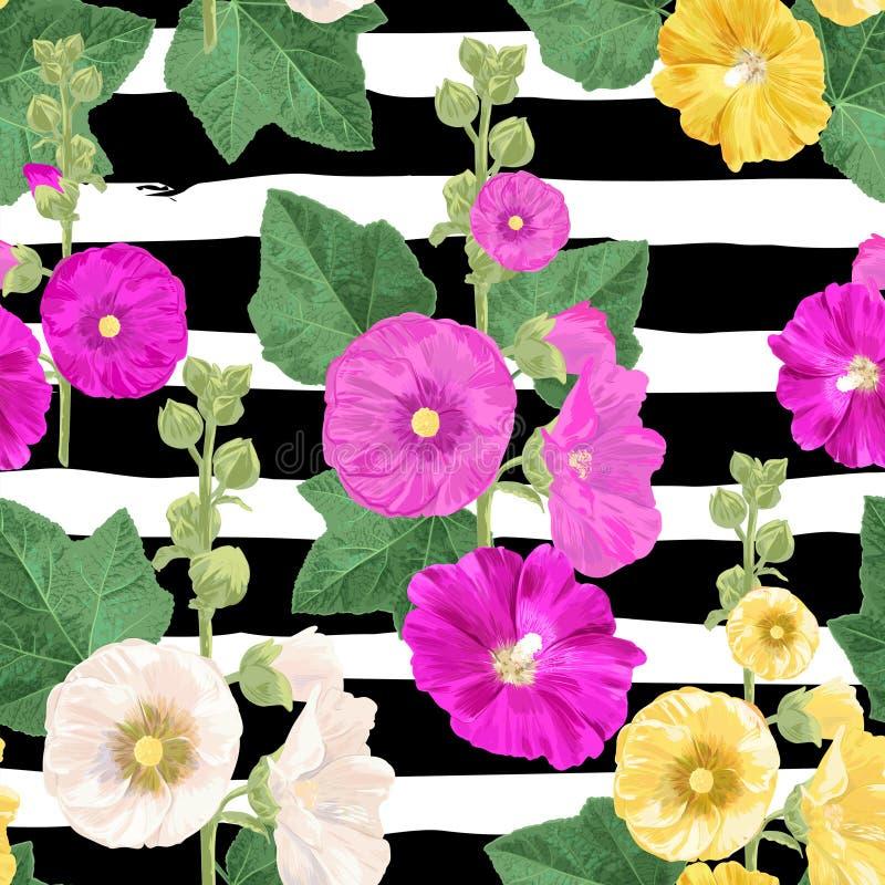 Malva Flower Seamless Pattern Fondo floral del verano con las flores Diseño floreciente de la acuarela para el papel pintado, tel stock de ilustración