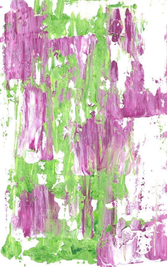 Malvafärgade och gröna abstrakta strimmor av målarfärg stock illustrationer