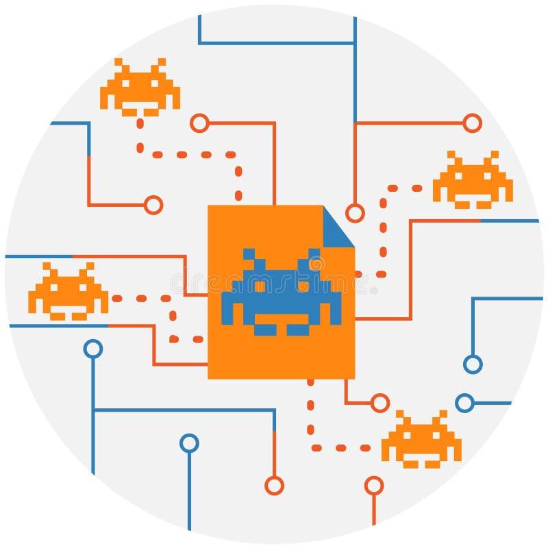 Malware, вирус, значок бактерий Ransomware атакуя абстрактный иллюстрация штока