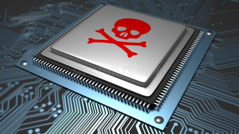 Malware besmette microchip royalty-vrije stock afbeeldingen