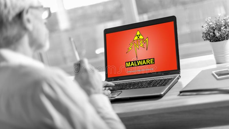 Malware concept on a laptop screen royalty free stock image