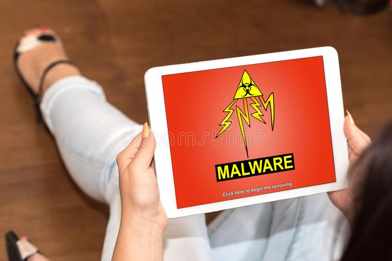 Malware concept on a tablet stock image