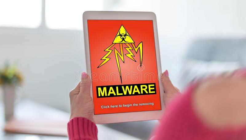 Malware concept on a tablet stock photography