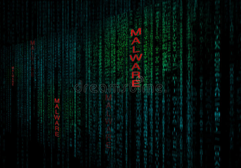 Malware cyber background as concept of data security protection royalty free illustration
