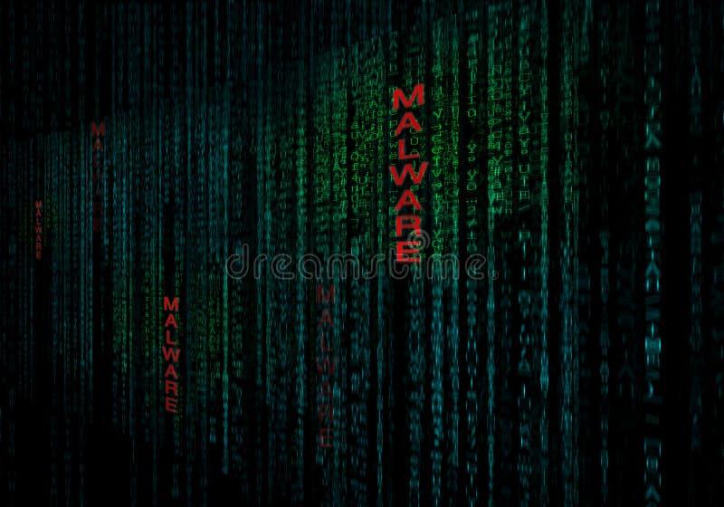 Malware cyberbakgrund som begrepp av datasäkerhetsskydd royaltyfri illustrationer