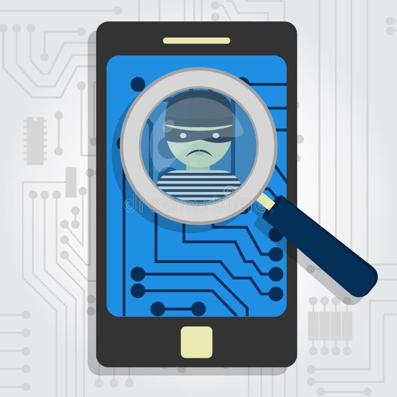 Malware detectó en smartphone ilustración del vector