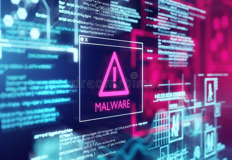 Malware detectó la pantalla de cuidado fotografía de archivo