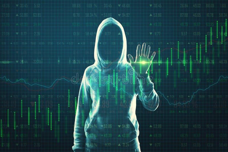 Malware e conceito de hackers com hackers tocando tela digital do gráfico de controle ilustração stock