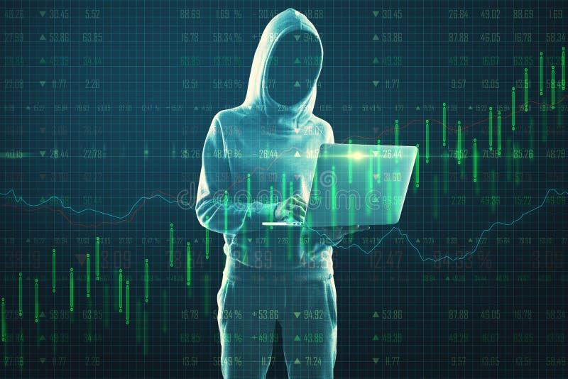 Malware e conceito de hacking com hackers usando o efeito de laptop e crescimento no gráfico do Forex fotos de stock