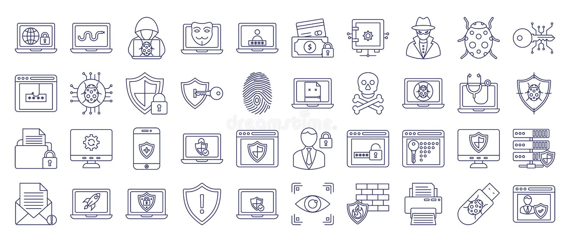 Malware en Antivirus Vector volledig editable Pictogram royalty-vrije illustratie