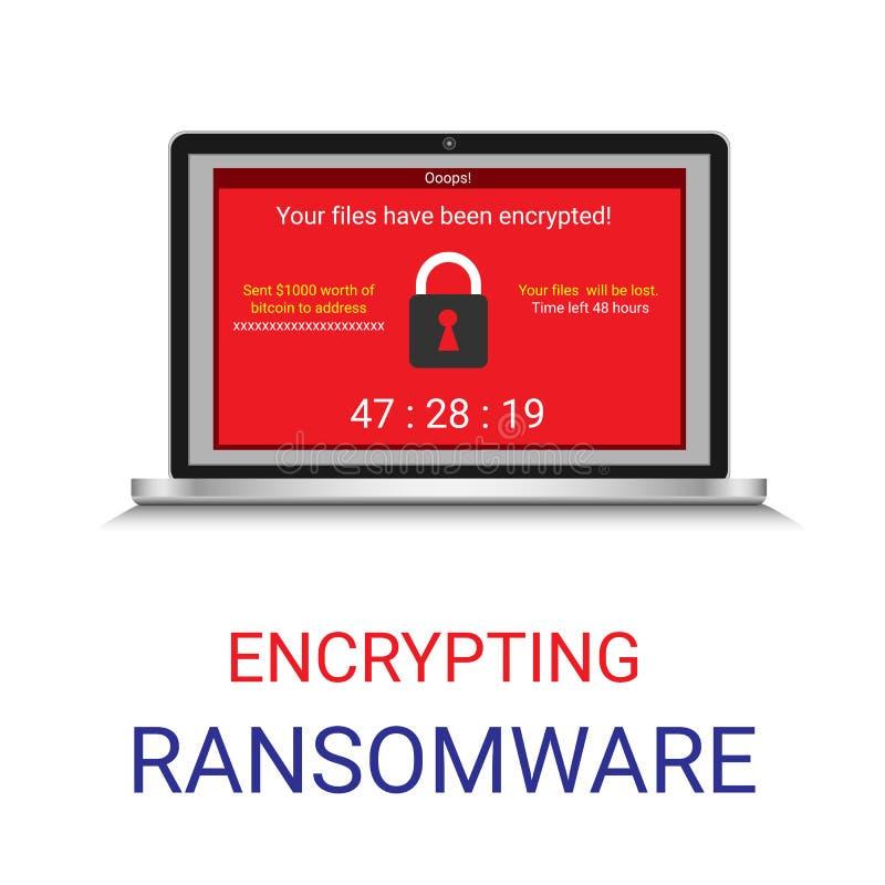 Malware gecodeerd dossier in computer, Ransomware vector illustratie