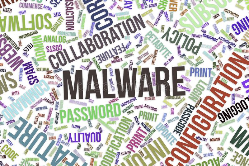 Malware, conceptual word cloud for business, information technology or IT. vector illustration