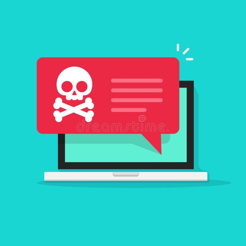 Malware meddelande på bärbar datorvektorn, skräppostdata, bedrägeriinternetvirus stock illustrationer
