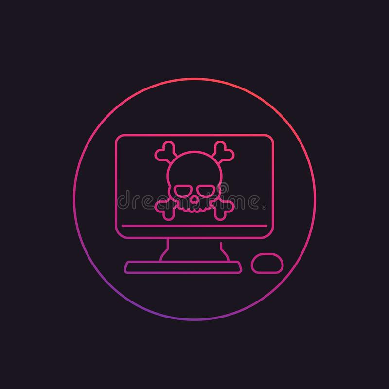 Malware, online scam, computer virus linear icon. Eps 10 file, easy to edit stock illustration