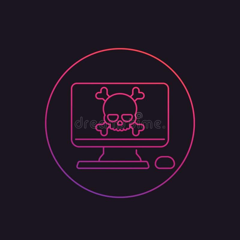 Malware, online zwendel, het lineaire pictogram van het computervirus stock illustratie