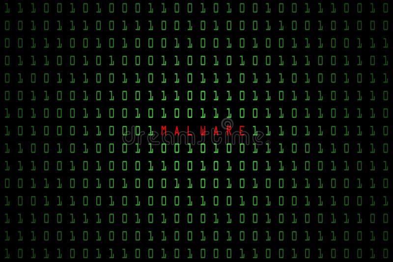 Malware ord med digitalt m?rker f?r teknologi eller svartbakgrund med bin?r kod i ljus - gr?n f?rg 1001 stock illustrationer