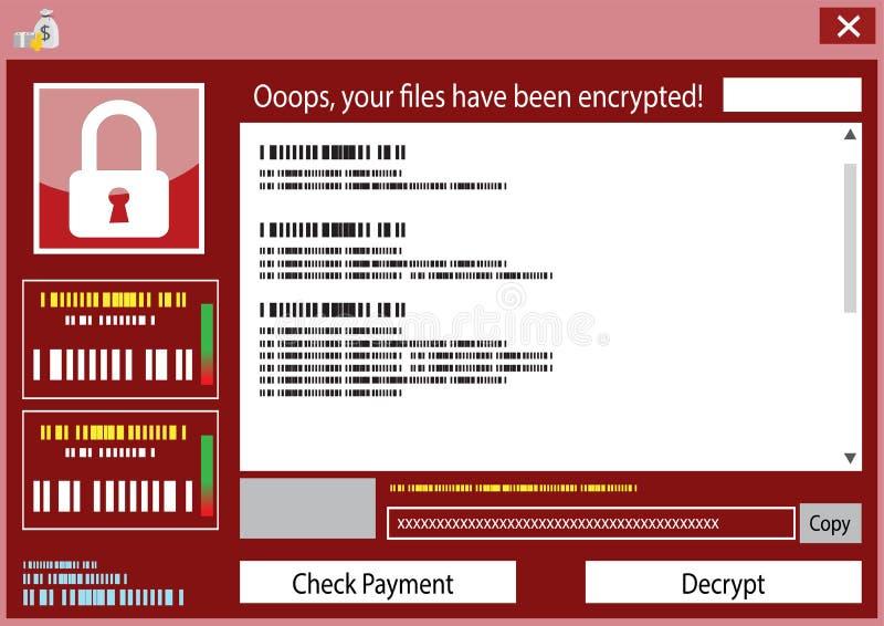 Malware quiere llorar virus de las mercancías del rescate cifrado stock de ilustración