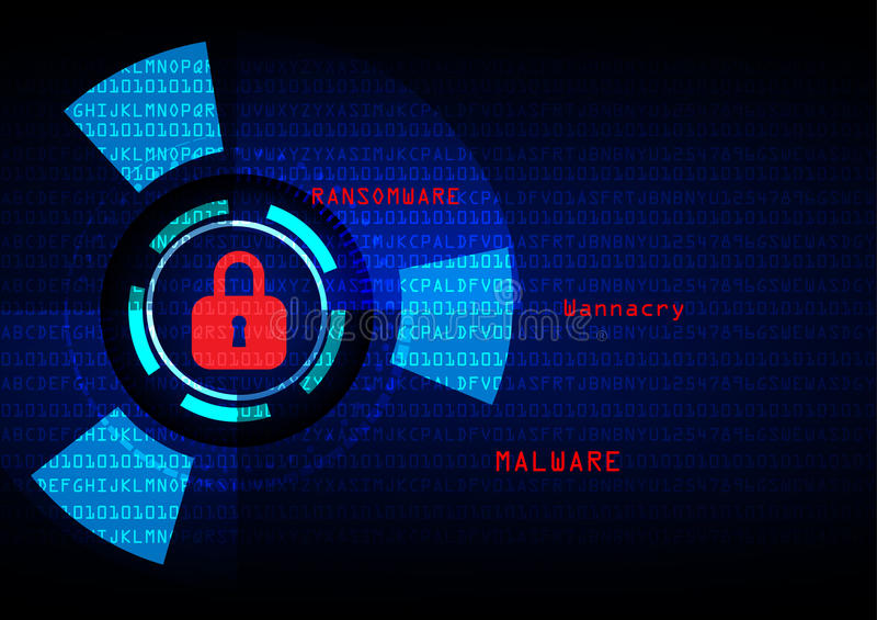Malware Ransomware wannacry virus encrypted files. stock illustration