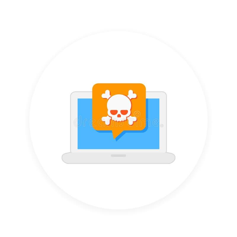 Malware skräppost, otrygg anslutning, online-svindel royaltyfri illustrationer