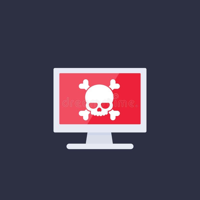 Malware, spam, σε απευθείας σύνδεση απάτη, ιός υπολογιστών, εικονίδιο απεικόνιση αποθεμάτων