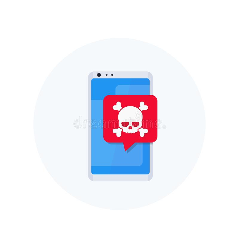 Malware, spam, fraud, online scam icon. Malware, spam, fraud, insecure connection, online scam, mobile virus vector icon royalty free illustration