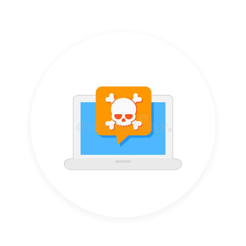 Malware, spam, insecure connection, online scam. Malware, spam, fraud, insecure connection, online scam, computer virus vector icon royalty free illustration