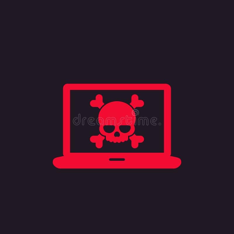 Malware, spam, online przekręt, komputerowego wirusa ikona ilustracji