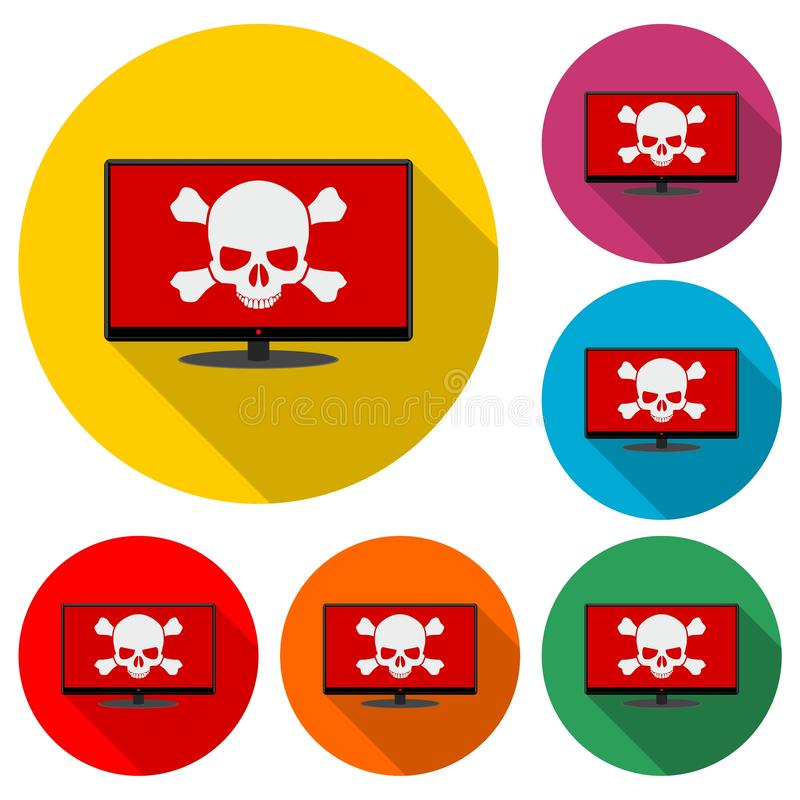 Malware, spam, online scam, computer virus icon or logo, color set with long shadow. On white stock illustration