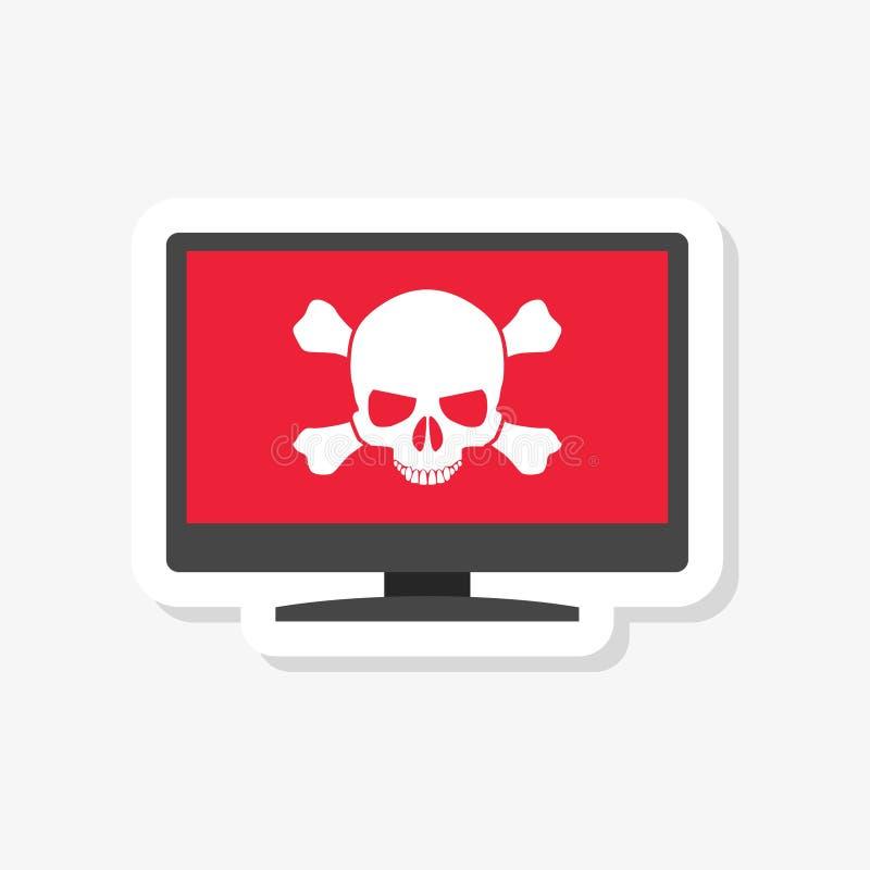 Malware, spam, online scam, computer virus sticker. On white royalty free illustration