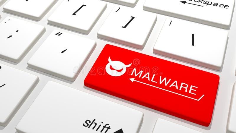 Malware tangent på ett tangentbord vektor illustrationer