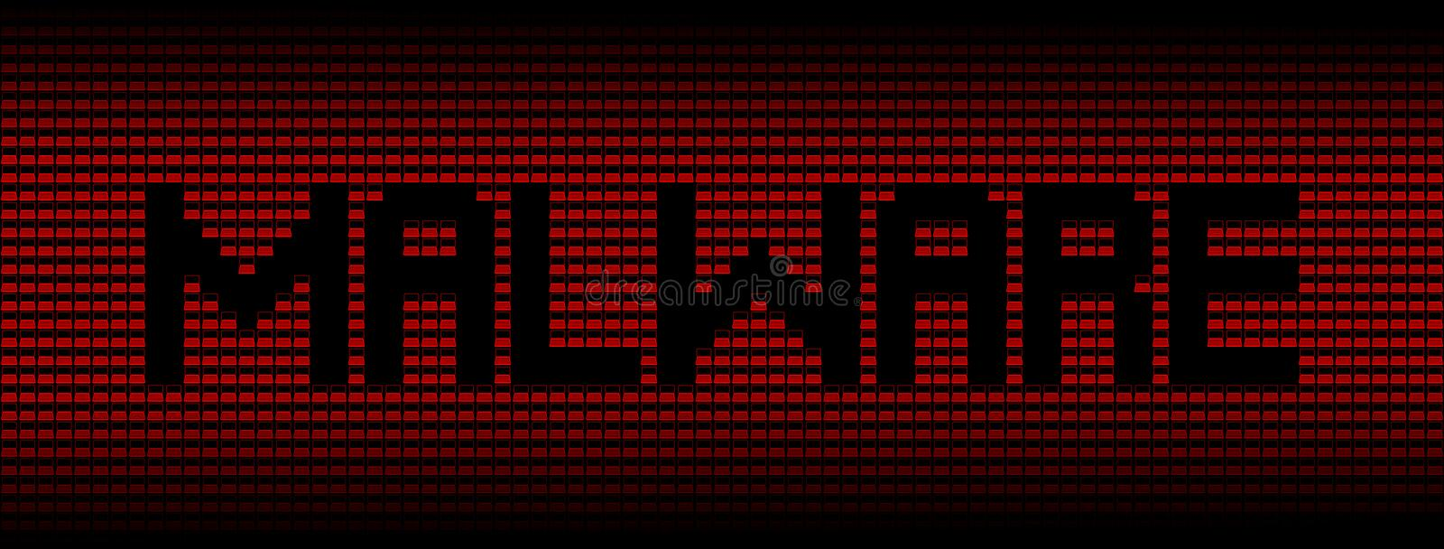 Malware text on red laptops background illustration royalty free illustration