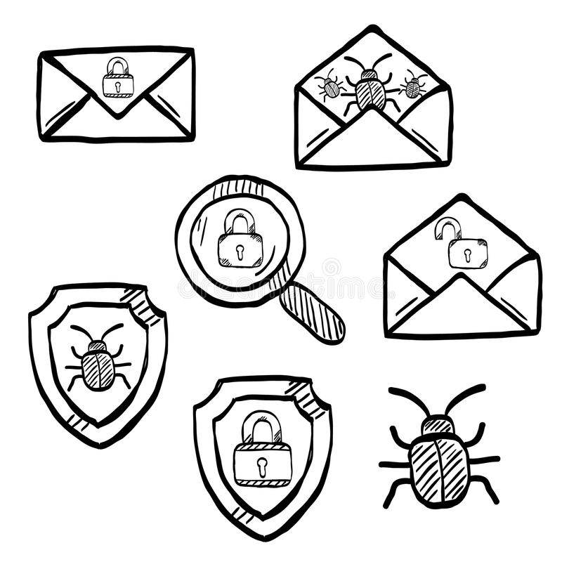 Malware and virus vector, internet security icons stock illustration