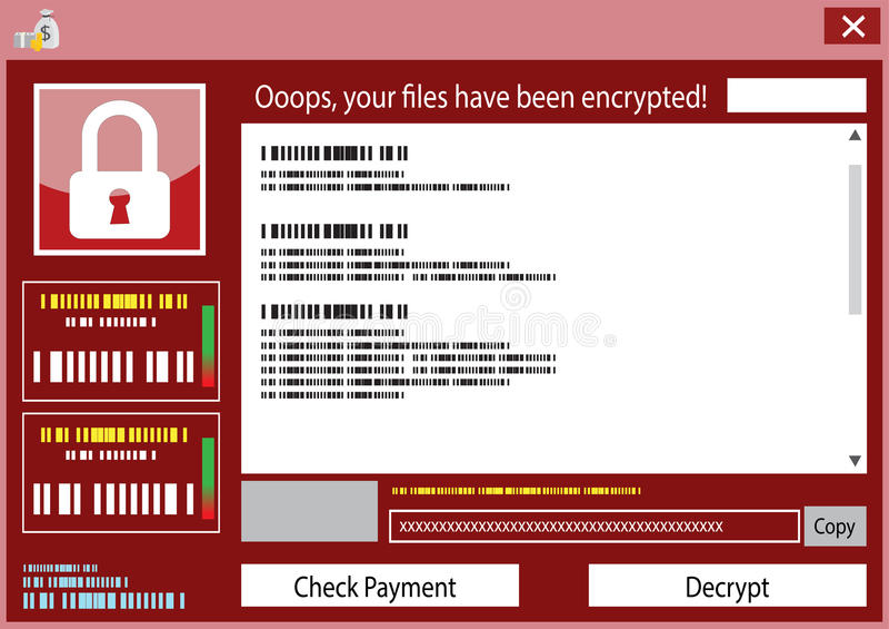 Malware wanna cry Ransom ware virus encrypted stock illustration