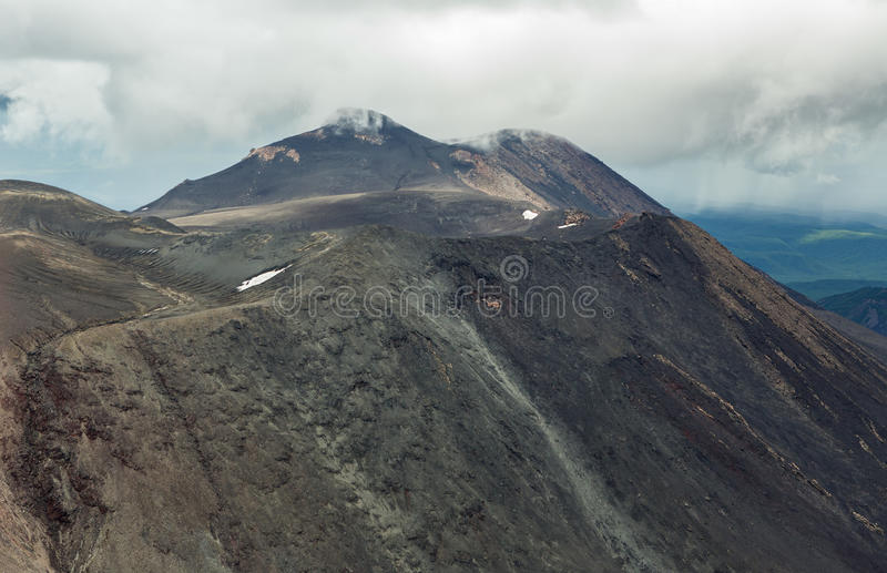 Maly Semyachik is a stratovolcano. Kronotsky Nature Reserve on Kamchatka Peninsula. View from helicopter stock photos