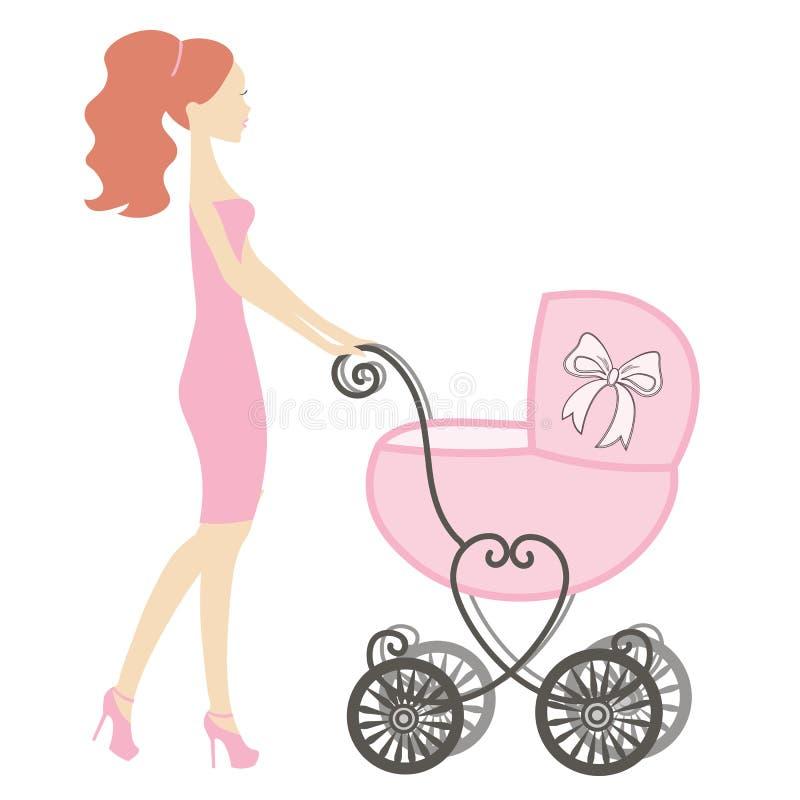 Mamá con el carro de bebé del vintage libre illustration