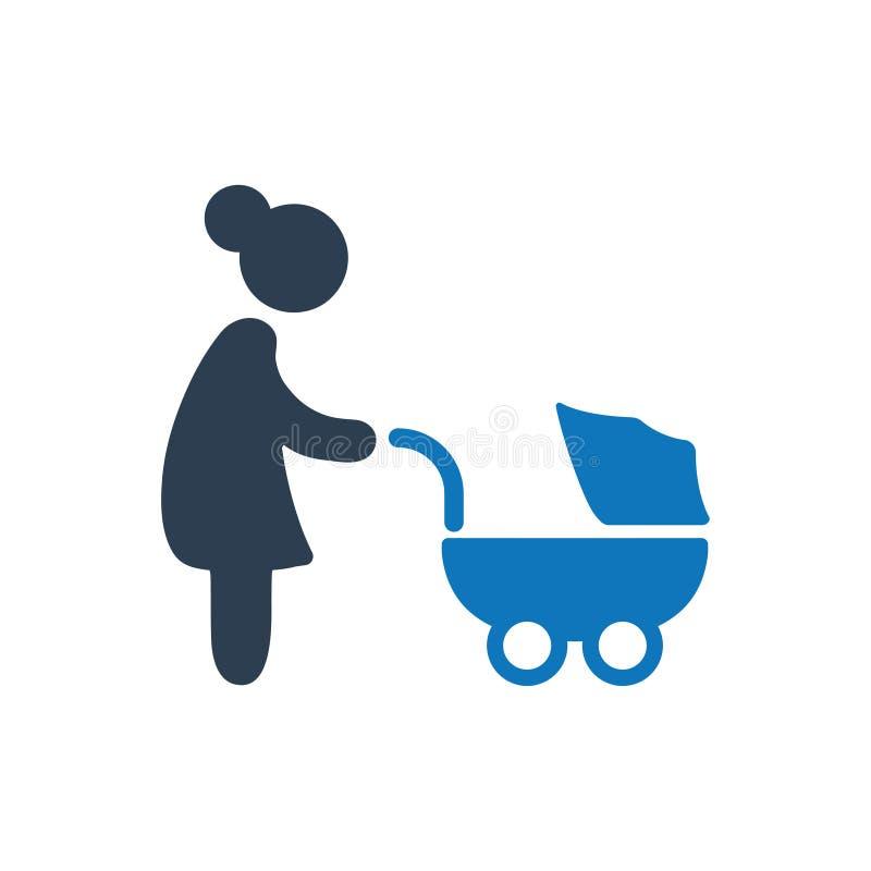 Mamá con el icono del cochecito ilustración del vector