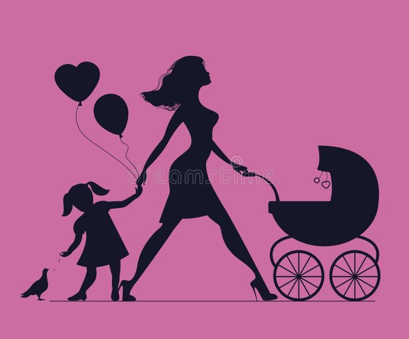 Mamá con la hija y el bebé en carro de bebé La niña alimenta b stock de ilustración