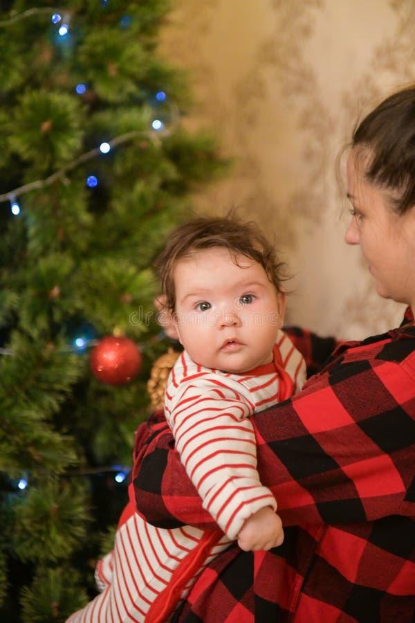 Mamá con un niño cerca del árbol de navidad recoja el árbol y consiga listo para el día de fiesta Retrato de medio cuerpo del peq imagen de archivo