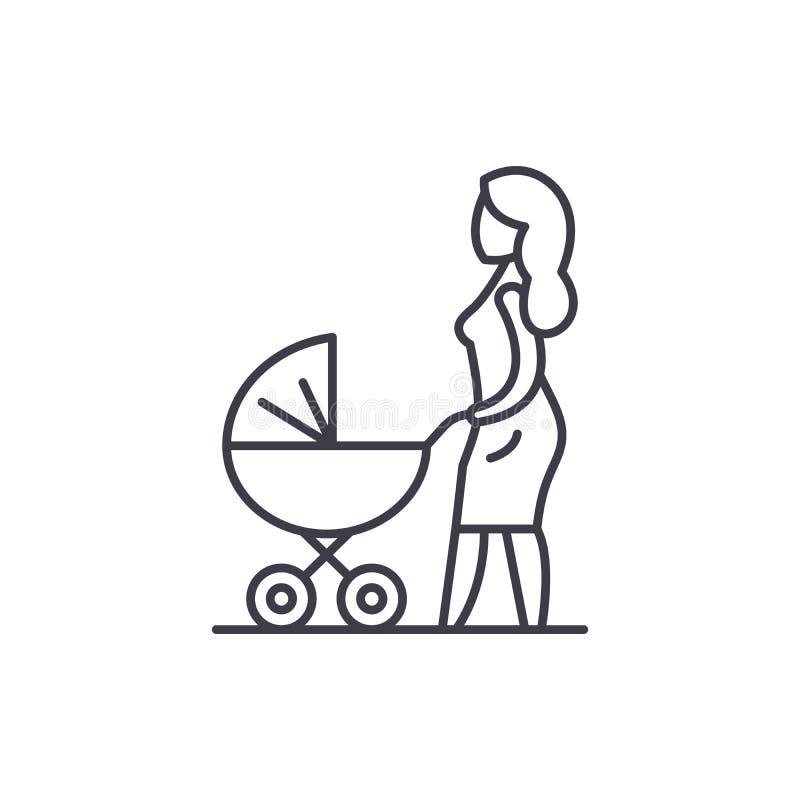 Mamá con una línea concepto del carro de bebé del icono Mamá con un ejemplo linear del vector del carro de bebé, símbolo, muestra stock de ilustración