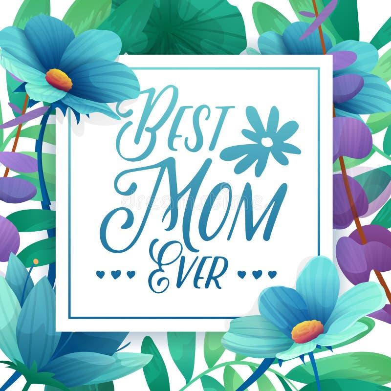 Mamá de la bandera del designt de la plantilla la mejor nunca Cartel cuadrado para el día de fiesta feliz del día del ` s de la m stock de ilustración