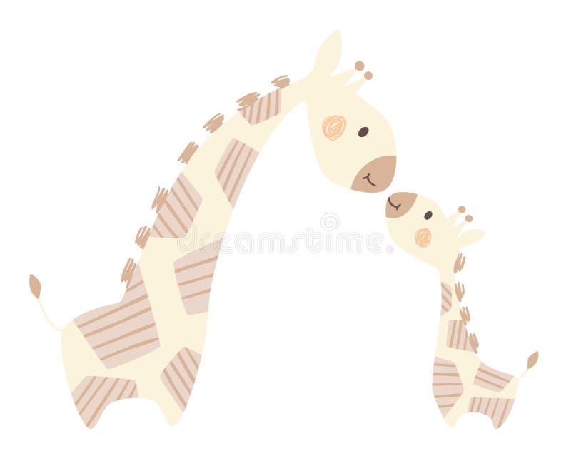 Mamá de la jirafa e impresión linda del bebé Familia animal dulce ilustración del vector