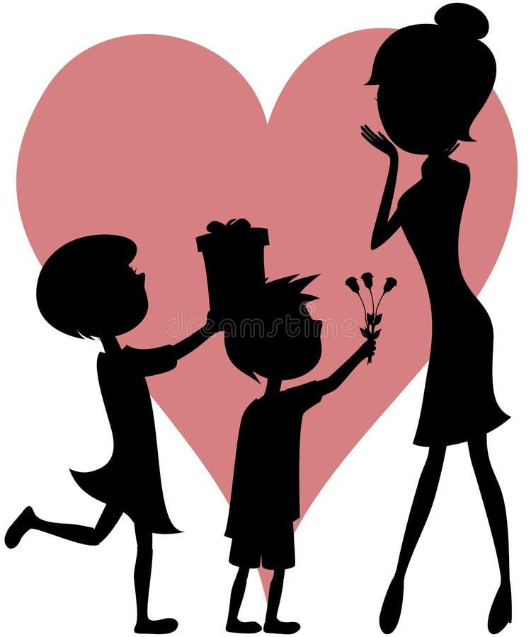 ¡Mamá de la sorpresa (caja de regalo de la hija, de las flores del hijo - siluetas)! ilustración del vector
