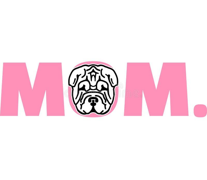 Mamá de Shar Pei en rosa ilustración del vector