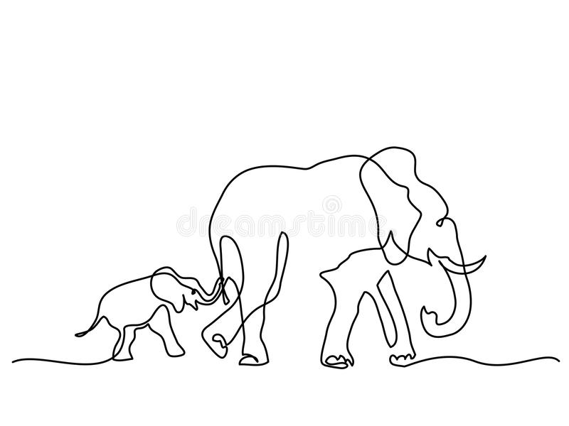 Mamá del elefante con símbolo que camina del bebé stock de ilustración