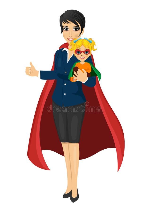 Mamá del superhéroe en el traje de negocios que detiene a su hija con sus manos y que muestra los pulgares para arriba stock de ilustración