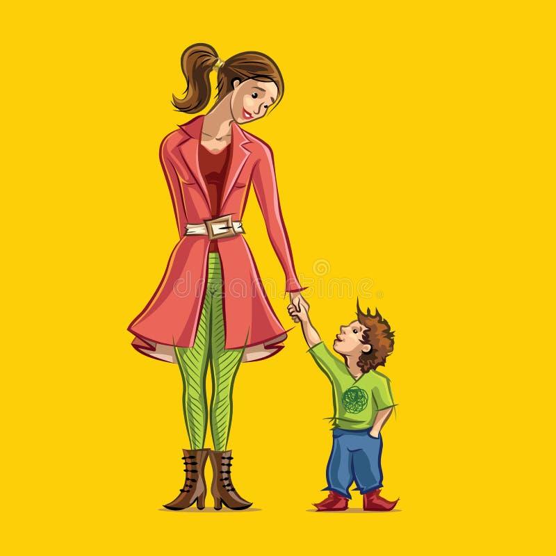 Mamá e hijo que llevan a cabo las manos stock de ilustración