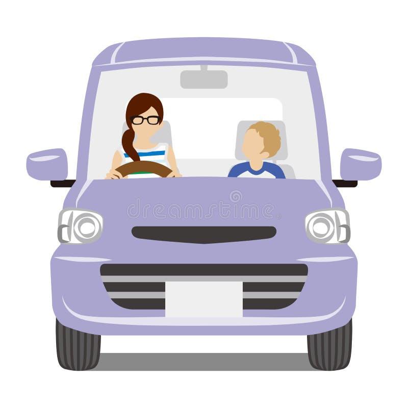 Mamá e hijo que montan el coche púrpura, vista delantera - aislada stock de ilustración